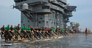 sailors clean deck 300x156 - Thank You to Our Veterans - A Military Home Cleaning Experience